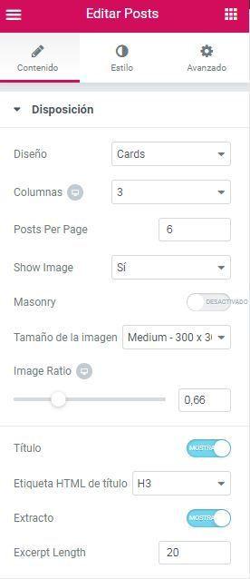 Elementor Pro secciones Widget Post