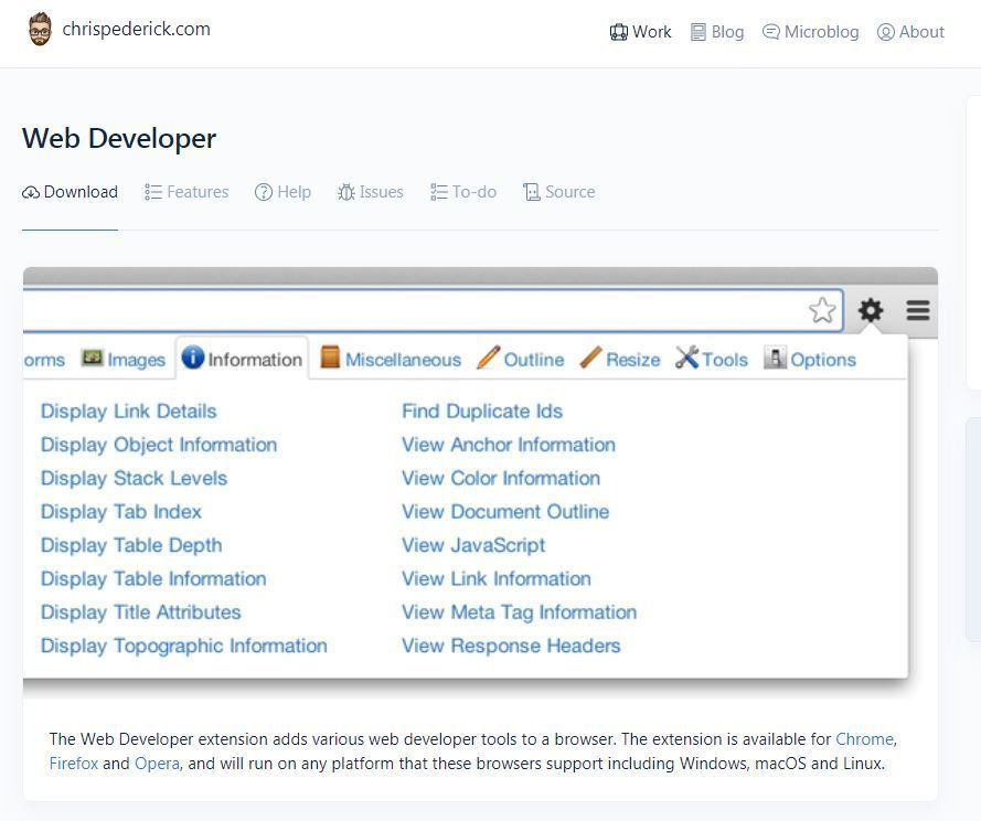 Web Developer extensión