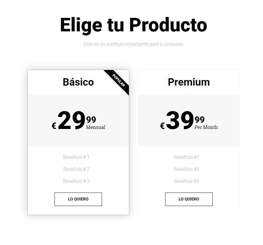 Widget Tabla de Precios Elementor Pro